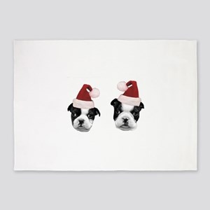 Christmas Boston Terriers 5'x7'Area Rug