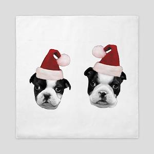 Christmas Boston Terriers Queen Duvet