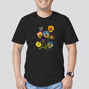 Colorful Embroidered P Men's Fitted T-Shirt (dark)