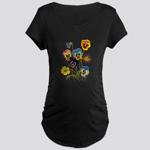 Colorful Embroidered Pansie Maternity Dark T-Shirt
