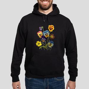 Colorful Embroidered Pansies Hoodie (dark)