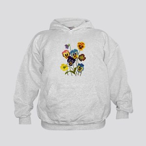 Colorful Embroidered Pansies Kids Hoodie