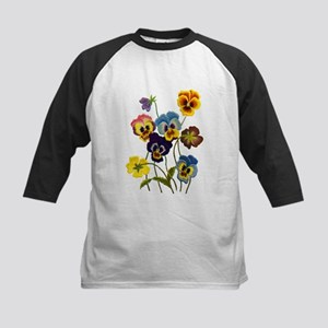 Colorful Embroidered Pansies Kids Baseball Jersey