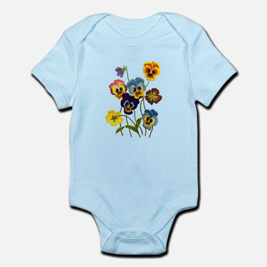 Colorful Embroidered Pansies Infant Bodysuit