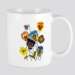 Colorful Embroidered Pansies Mug