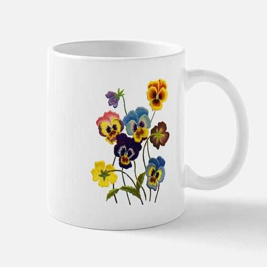 Colorful Embroidered Pansies Mug