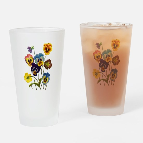 Colorful Embroidered Pansies Drinking Glass