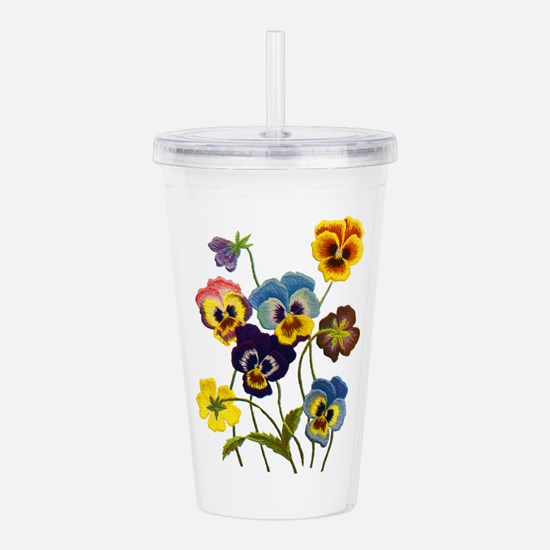 Colorful Embroidered P Acrylic Double-wall Tumbler