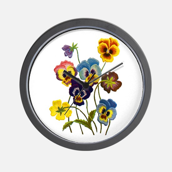 Colorful Embroidered Pansies Wall Clock