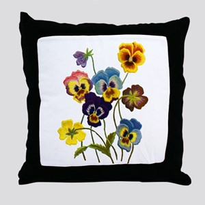 Colorful Embroidered Pansies Throw Pillow