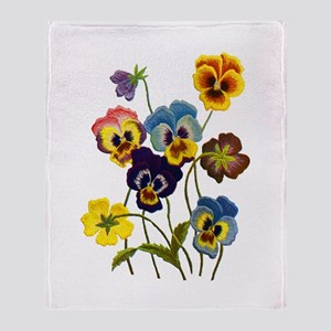 Colorful Embroidered Pansies Throw Blanket