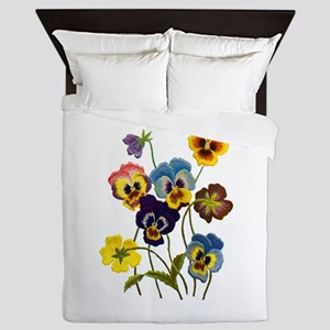 Colorful Embroidered Pansies Queen Duvet