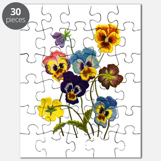 Colorful Embroidered Pansies Puzzle