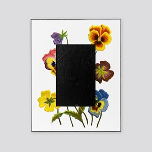 Colorful Embroidered Pansies Picture Frame