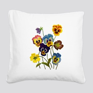Colorful Embroidered Pansies Square Canvas Pillow