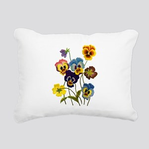 Colorful Embroidered Pan Rectangular Canvas Pillow