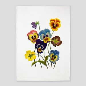 Colorful Embroidered Pansies 5'x7'Area Rug