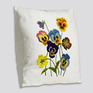 Colorful Embroidered Pansies Burlap Throw Pillow