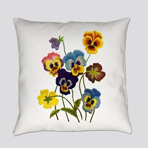 Colorful Embroidered Pansies Everyday Pillow