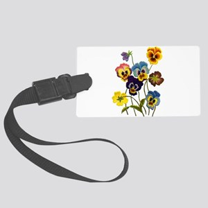 Colorful Embroidered Pansies Large Luggage Tag