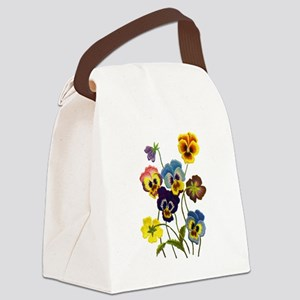 Colorful Embroidered Pansies Canvas Lunch Bag