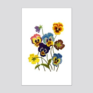 Colorful Embroidered Pansies Mini Poster Print