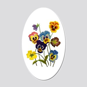 Colorful Embroidered Pansies 20x12 Oval Wall Decal