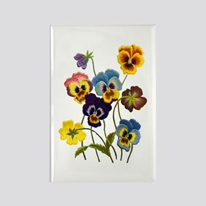 Colorful Embroidered Pansies Rectangle Magnet