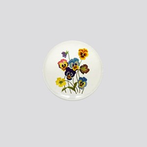 Colorful Embroidered Pansies Mini Button