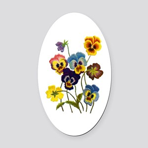 Colorful Embroidered Pansies Oval Car Magnet