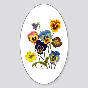 Colorful Embroidered Pansies Sticker (Oval)