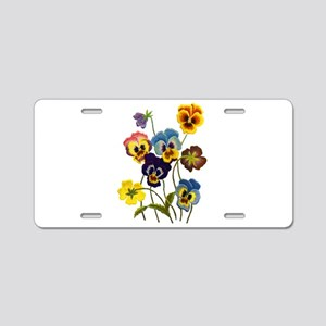 Colorful Embroidered Pansie Aluminum License Plate