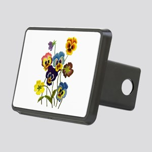 Colorful Embroidered Pansi Rectangular Hitch Cover