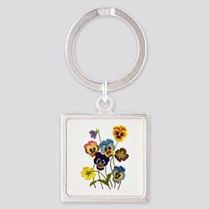 Colorful Embroidered Pansies Square Keychain