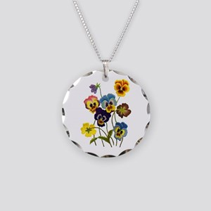Colorful Embroidered Pansies Necklace Circle Charm