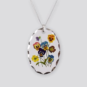 Colorful Embroidered Pansies Necklace Oval Charm