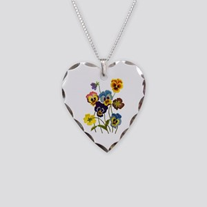 Colorful Embroidered Pansies Necklace Heart Charm