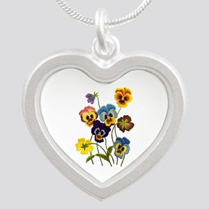 Colorful Embroidered Pansies Silver Heart Necklace