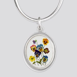 Colorful Embroidered Pansies Silver Oval Necklace