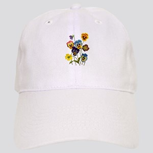 Colorful Embroidered Pansies Cap