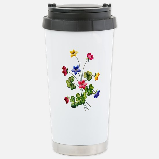 Colorful Embroidered Wo Stainless Steel Travel Mug