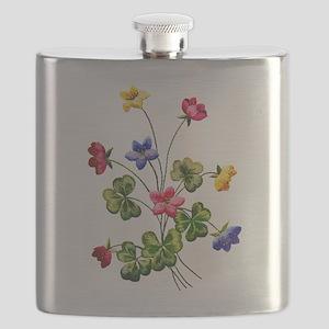 Colorful Embroidered Woodsorrel Flask