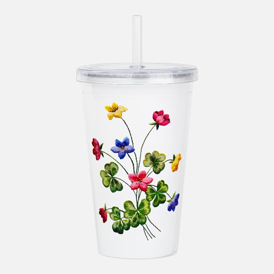 Colorful Embroidered W Acrylic Double-wall Tumbler