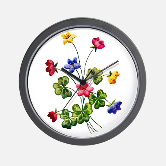 Colorful Embroidered Woodsorrel Wall Clock