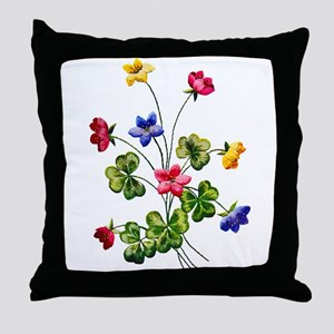 Colorful Embroidered Woodsorrel Throw Pillow