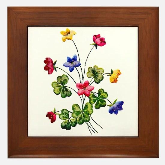 Colorful Embroidered Woodsorrel Framed Tile