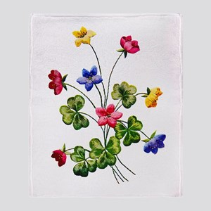 Colorful Embroidered Woodsorrel Throw Blanket