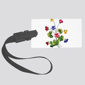 Colorful Embroidered Woodsorrel Large Luggage Tag