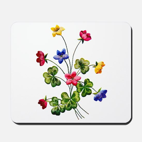 Colorful Embroidered Woodsorrel Mousepad