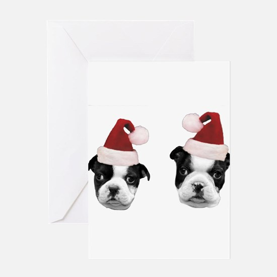 Christmas Boston Terriers Greeting Cards